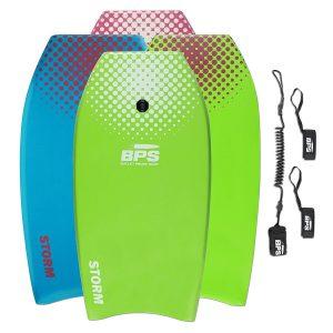 BPS Storm Bodyboard - Includes Premium Coiled Leash and Swim Fin Tethers (Single Board)