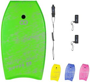 WOOWAVE Bodyboard 33-inch/36-inch/41-inch Super Lightweight Body Board with Premium Coiled Wrist Leash, EPS Core and Slick Bottom, Perfect Surfing for Teens